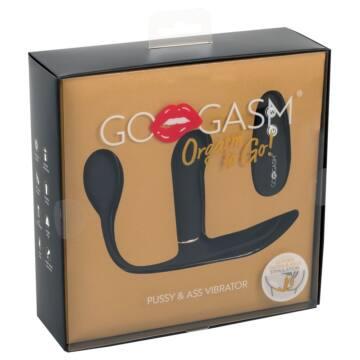 GoGasm Pussy & Ass - akkus, rádiós 3 ágú vibrátor (fekete)