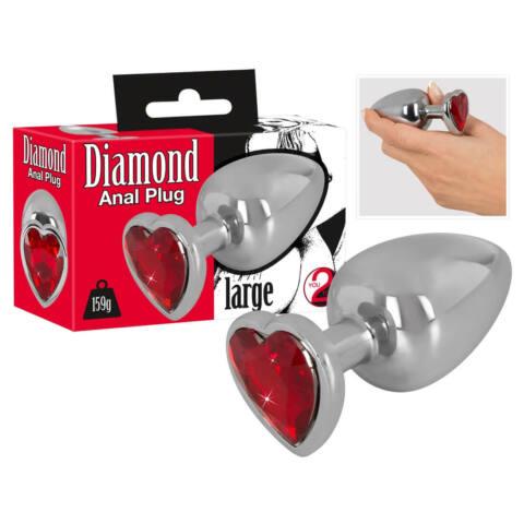 Diamond - 159g-os alumínium anál dildó (ezüst-piros)