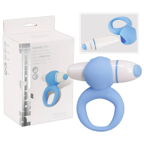 PlayCandi Ring Pop - vibrációs péniszgyűrű (kék)