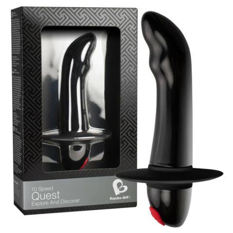 Quest - 10 ritmusú kezdő prosztata vibrátor (fekete)