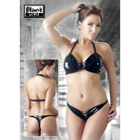 Nyakpántos, fűzős, lakk bikini (fekete)