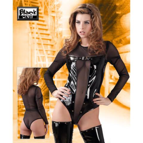 Hosszúujjú necc-lakk body (fekete)