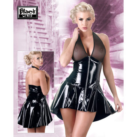 Aszimmetrikus, nyakpántos, lakk ruha (fekete)