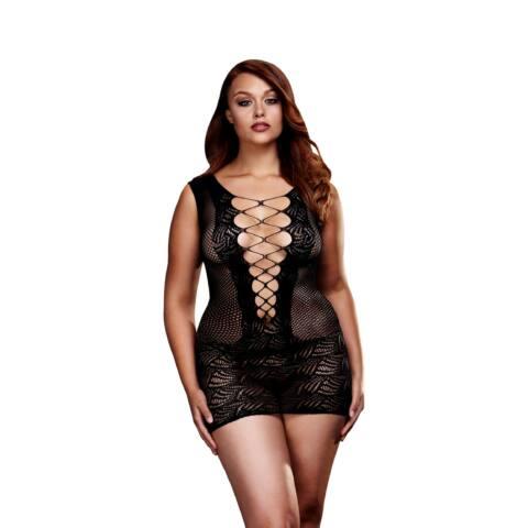 BACI Plus Size - fűzős, ujjatlan necc miniruha (fekete)
