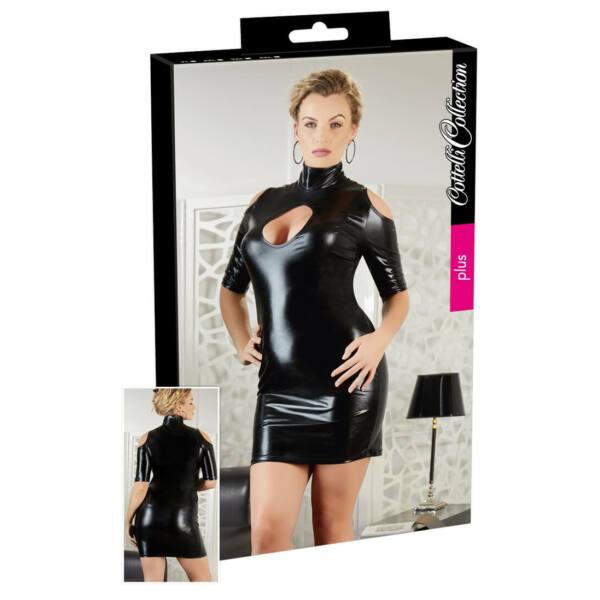 Cottelli Plus Size - kivágott vállú party ruha (fekete)